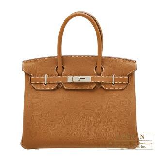 에르메스 버 킨 30 골드 トゴ 실버 브래킷 Hermes Birkin bag 30 Gold Togo leather Silver hardware