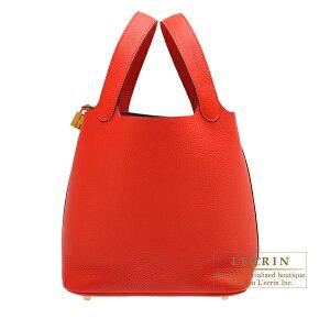 エルメス ピコタンロックMM ルージュトマト トリヨンクレマンス ゴールド金具 HERMES Picotin Lock bag MM Rouge tomate Clemence leather Gold hardware