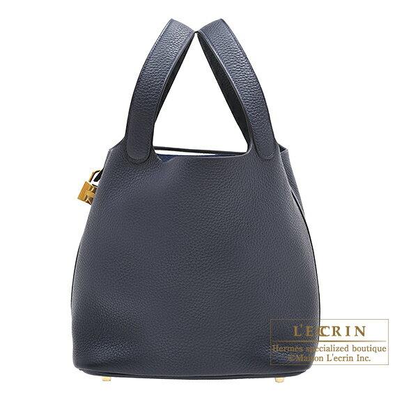 エルメス ピコタンロックMM ブルーニュイ トリヨンクレマンス ゴールド金具 HERMES Picotin Lock bag MM Blue nuit Clemence leather Gold hardware
