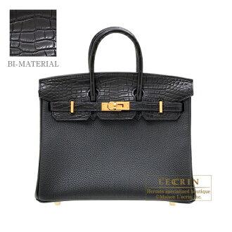 헤르메스 버킨 터치 25 브락크트고/크로코다이르아리게이타맛트고르드 쇠장식 HERMES Birkin Touch bag 25 Black Togo leather/Matt alligator crocodile skin Gold hardware