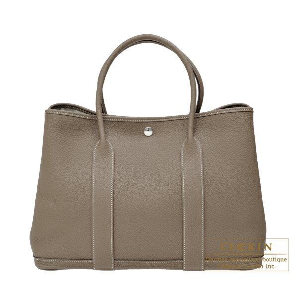 エルメス ガーデンパーティPM エトゥープ ネゴンダ シルバー金具 HERMES Garden Party bag PM Etoupe grey Negonda leather Silver hardware