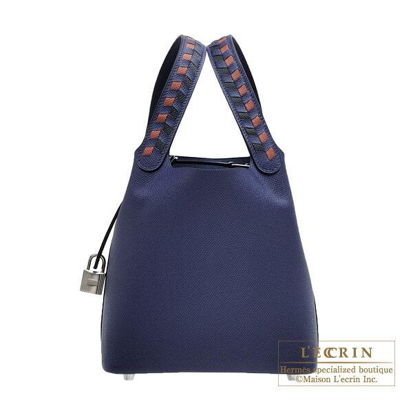 エルメス ピコタンロックトレサージュPM ブルーアンクル/ブリック/ブラック ヴォーエプソン シルバー金具 HERMES Picotin Lock Tressage De Cuir bag PM Blue encre/Brick/Black Epsom leather Silver hardware
