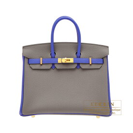 エルメス パーソナルバーキン25 エタン/ブルーエレクトリック トゴ マットゴールド金具 HERMES Personal Birkin bag 25 Etain/Blue electric Togo leather Matt gold hardware