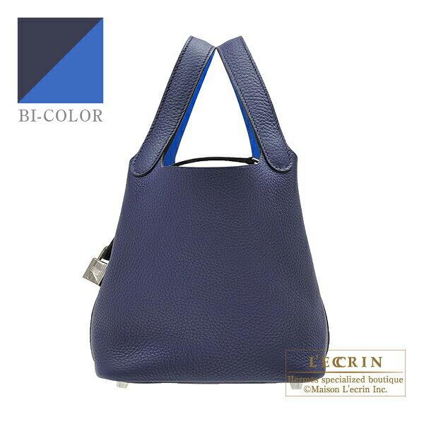エルメス ピコタンロックエクラPM ブルーアンクル/ブルーゼリージュ トリヨンクレマンス/スイフト シルバー金具 HERMES Picotin Lock Eclat bag PM Blue encre/Blue zellige Clemence leather/Swift leather Silver hardware