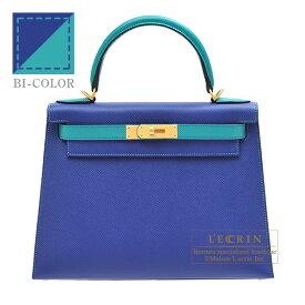 エルメス パーソナルケリー28/外縫い ブルーエレクトリック/ブルーパオン ヴォーエプソン マットゴールド金具 HERMES Personal Kelly bag 28 Sellier Blue electric/Blue paon Epsom leather Matt gold hardware