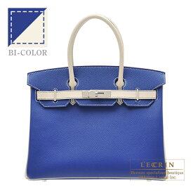 エルメス パーソナルバーキン30 ブルーエレクトリック/クレ ヴォーエプソン シルバー金具 HERMES Personal Birkin bag 30 Blue electric/Craie Epsom leather Silver hardware