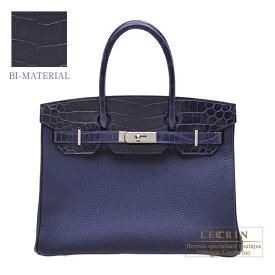 エルメス バーキンタッチ30 ブルーアンクル トゴ/クロコダイル ニロティカス シルバー金具 HERMES Birkin Touch bag 30 Blue encre Togo leather/Niloticus crocodile skin Silver hardware