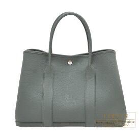 エルメス ガーデンパーティPM ヴェールアマンド ネゴンダ シルバー金具 HERMES Garden Party bag PM Vert amande Negonda leather Silver hardware