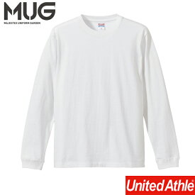 長袖Tシャツ ホワイト 5011-01 5.6オンス ロングスリーブTシャツ (1.6インチリブ) United Athle 長袖Tシャツ リブ カラバリ ユニフォーム チーム ユナイテッドアスレ