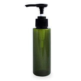 プッシュポンプボトル100ml(グリーン)オイル対応容器 マッサージオイル容器、美容オイル等幅広く使用でき持ち運びや小分けに便利。(プラスチック容器/オイル用空瓶 プラスチック製-PET/空ボトル/プッシュポンプ)