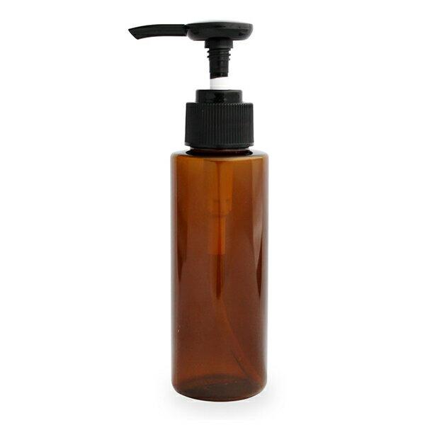 プッシュポンプボトル100ml(ブラウン)オイル対応容器 マッサージオイル容器、美容オイル等幅広く使用でき持ち運びや小分けに便利。(プラスチック容器/オイル用空瓶 プラスチック製-PET/空ボトル/プッシュポンプ)【10P02Sep17】