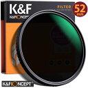 レンズフィルター K&F Concept NDフィルター 52mm 可変式 ND2-ND32 減光フィルター X状ムラなし 超薄型 レンズフィル…