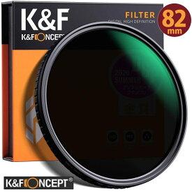レンズフィルター K&F Concept NDフィルター 82mm 可変式 ND2-ND32 減光フィルター X状ムラなし 超薄型 レンズフィルター ネコポス 送料無料