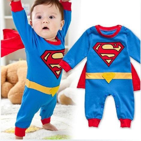 スーパーマン コスチューム マント付き(取り外し可)赤ちゃん用 ベビー ロンパース コスプレ 衣装 仮装 ハロウィン クリスマス (90)