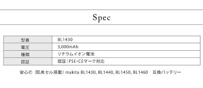 【初期不良対応、長期保証】マキタMAKITA互換バッテリーBL1430sanyoサンヨーセル搭載2個セット