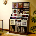 大人のレコード ラック 収納 LPレコード レコードディスプレイラック 見せる収納 総収納量約420枚 【幅103×奥行34.5×高さ171.5cm】 木目ナチュラル 木目ダーク RCS1030 AUX オークス アナログ盤
