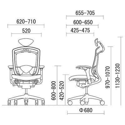オカムラコンテッサCM52SBスタンダードメッシュチェア小型ヘッドレストフレームカラー:シルバーボディカラー:ネオブラック背:スタンダードメッシュシート:クッションアジャストアーム