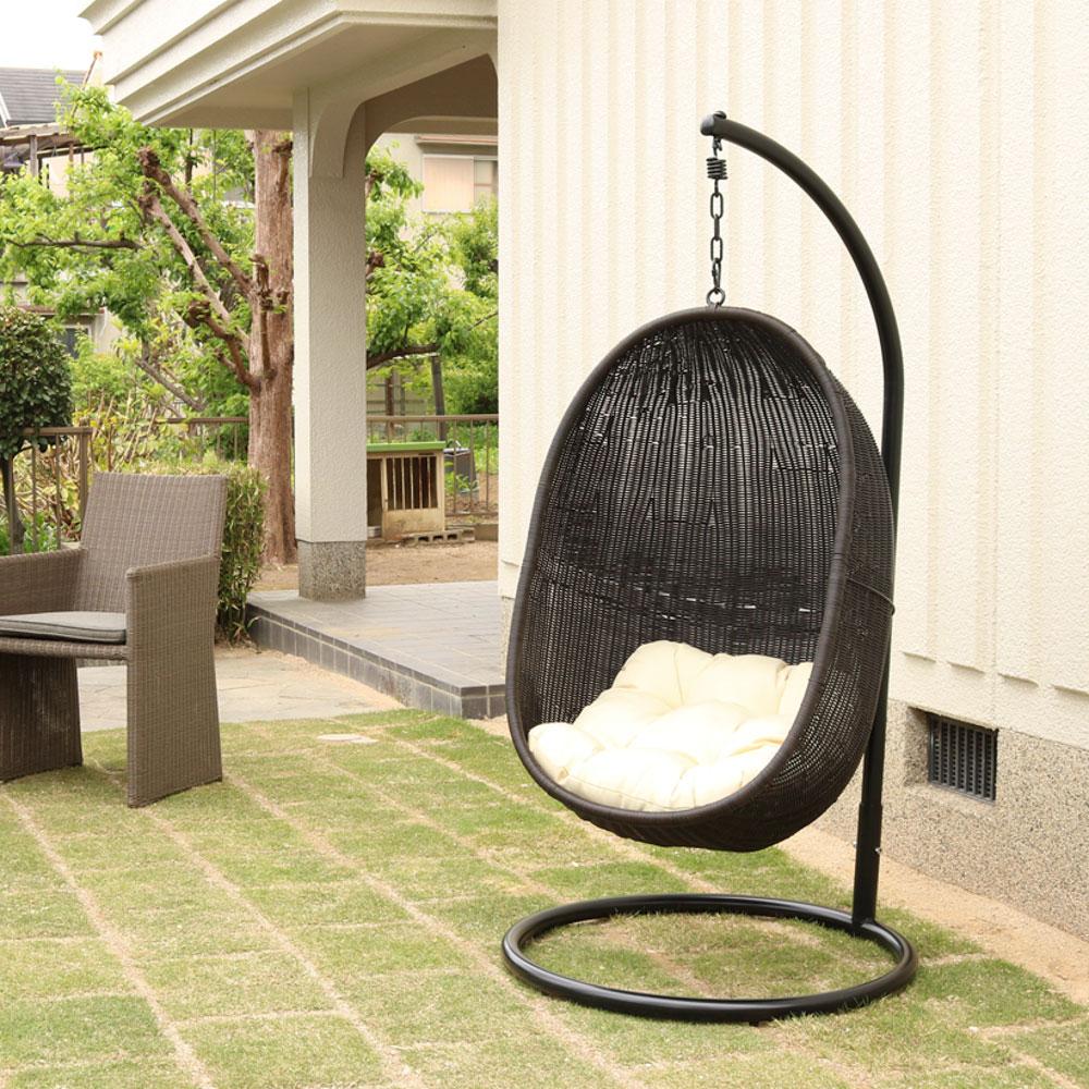 ハンギングチェア スモール C502PGYW 籐製 アジアン かわいい 卵型 エッグ型 たまご型 ゆらゆら椅子 吊り椅子 吊るし椅子