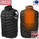 [DRESS(ドレス)] HEAT VEST ヒートベスト[ブラック] 電熱ヒーター内蔵ベスト[サイズ:S/M/L/XL/XXL] USBモバイルバッテリー対応 3段温度調整 釣り 中綿ベスト 防寒