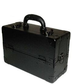 スライド2段トレー 瓶立てスペース有り メイクボックス スリム 黒 ブラック《送料無料》プロ仕様 コスメボックス コスメケース 化粧道具入れ メイクアップボックス 化粧箱 化粧ボックス