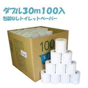 [珍しい業務用ダブル]トイレットペーパー ダブル 30mW 100個入り 1ロール@35.9円ふんわり柔らかソフトタイプ!再生紙100%/牧製紙工場/ホルダー