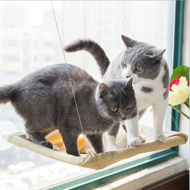 【送料無料】猫ハンモック 吸盤式 猫の窓ソファ 窓際マット 猫窓枠座り台 省スペース 昼寝 ストレス解消 日向ぼっこ 日光浴 遊び場 細菌ダニ駆除 取り付け簡単 清潔簡単 繰り返し洗濯 折り畳み 耐荷重20~30kg 猫用品
