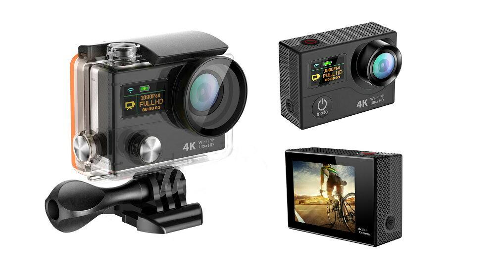 4K WIFI スポーツ カメラ HD 1200万画素 170度超広角2インチ LCD 20M 1対多い リモコン GoproH3R_Black