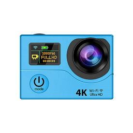 4K WIFI スポーツ カメラ HD 1200万画素 170度超広角2インチ LCD 20M 1対多い リモコン GoproH3R_Blue