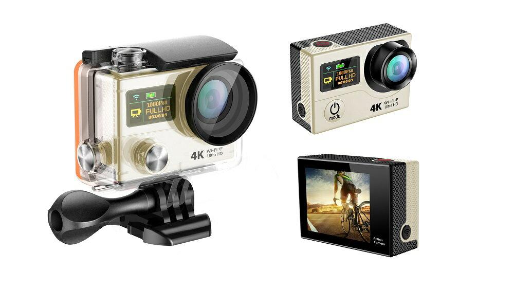 4K WIFI スポーツ カメラ HD 1200万画素 170度超広角2インチ LCD 20M 1対多い リモコン GoproH3R_Golden