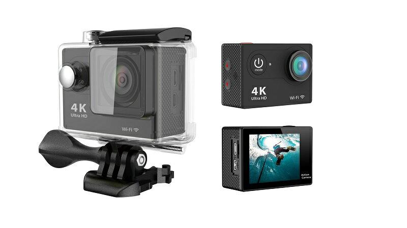4K WIFI 30M 防水スポーツ カメラ HD 1200万画素 170度超広角2インチ LCD 20M 1対多い リモコンGoproH9R_Black