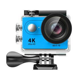 4K WIFI 30M 防水スポーツ カメラ HD 1200万画素 170度超広角2インチ LCD 20M 1対多い リモコンGoproH9R_Blue