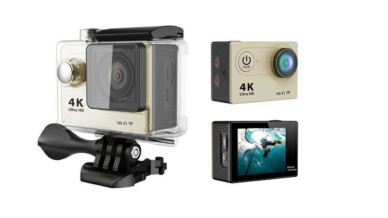 4K WIFI 30M 防水スポーツ カメラ HD 1200万画素 170度超広角2インチ LCD 20M 1対多い リモコンGoproH9R_Golden