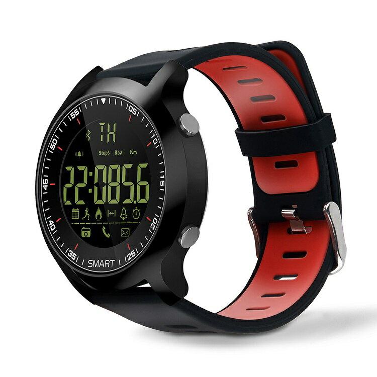 スマートウォッチ/運動ウォッチ 長時間バッテリー Bluetooth 歩数、距離、カロリー消耗 多機能腕時計歩数計 生活防水 Android&IOS対応 AOWOX6-Blred(外黒内赤)