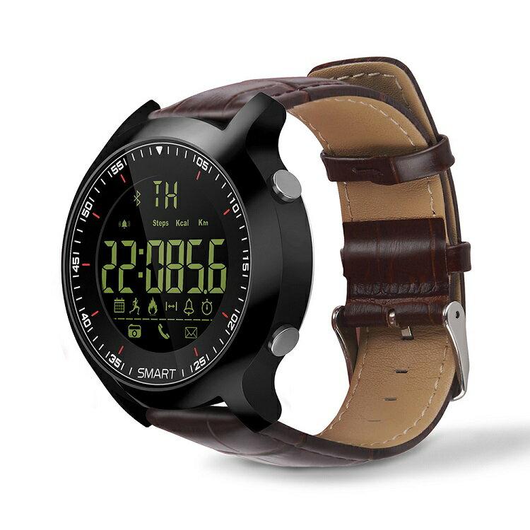 スマートウォッチ/運動ウォッチ 長時間バッテリー Bluetooth 歩数、距離、カロリー消耗 多機能腕時計歩数計 生活防水 Android&IOS対応 AOWOX6-Brown