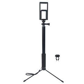 自撮り棒 三脚付き 3.5インチの携帯スマホから10.5インチのタブレット iPad Pro対応可能!セルフィースティック セルカ棒 無線 軽量 Bluetooth ワイヤレスリモコンシャッターと防水袋付き 四つ色!K28915Dual