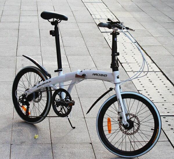 送料税込み!ハチコHACHIKO高炭素鋼折り畳み自転車SHIMANOシマノ7段変速 20インチ[98%完成品] 白(HA02_White)