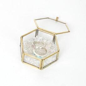 ガラス六角BOX(M)/ガラスケース/リングピロー/ジュエリーケース