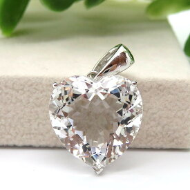 水晶AAAAA ペンダント ネックレス 天然石 パワーストーン クリスタルクォーツ 宝石質 ファセットカット ハート型 4月の誕生石