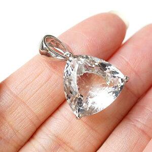 水晶AAAAA ペンダント ネックレス 天然石 パワーストーン クリスタルクォーツ 最上級 宝石質 トライアングル型 三角形 ファセットカット 4月の誕生石