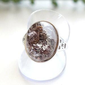 【一点物】ガーデンクォーツ リング 指輪 フリーサイズ 天然石 パワーストーン SV925 アクセサリー ジュエリー レディース メンズ 庭園水晶 苔入り水晶 ガーデン水晶
