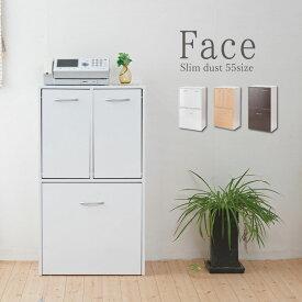 キッチンシリーズ Face 3分別ダストボックス ホワイト FY-0028 ごみ箱 分別式 スリム 薄型 ゴミ箱 ゴミ入れ ペール付き モダン シンプル