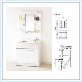 ■パナソニック 洗面化粧台 エムライン間口750サイズ洗髪水栓 1面鏡(くもりシャット無し) 送料無料■