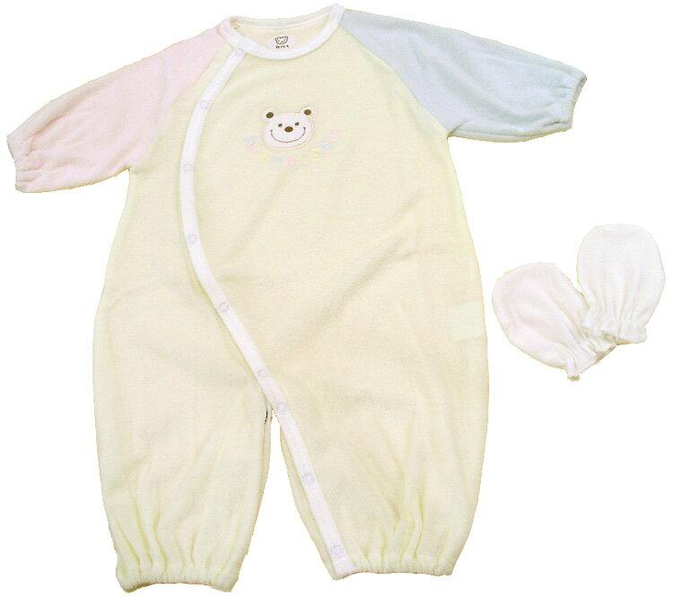 新生児 ベビー服 3配色ツーウェイオール+ミトン ベビーウェア・日本製 05P03Dec16