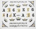 【メール便OK】99円☆ネイルシール721 王冠 クラウン イニシャル アルファベット ゴシックブラックゴールド