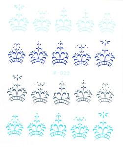 【メール便OK】ネイルシール350 ネイルタトゥー クラウン ブルー ウォーターネイルシール水に塗らして貼るだけの極薄フィルム★ジェルネイル埋め込み簡単