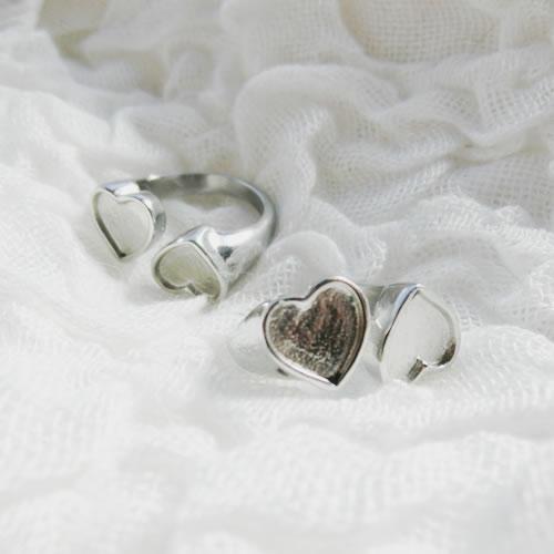 手作りアクセサリー【グルーデコアクセサリーの土台】ステンレスリング41 指輪 ハートデザインリング ステンレス素材【メール便OK】
