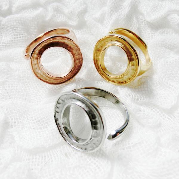 手作りアクセサリー【グルーデコアクセサリーの土台】ステンレスリング43 指輪 フリー Oデザインリング シルバー ゴールド ピンクゴールド ステンレス素材【メール便OK】