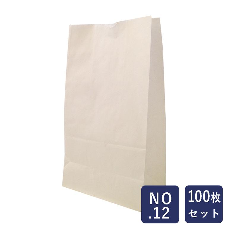 【包材】HEIKO 紙袋 角底袋 白無地 No.12 100枚_