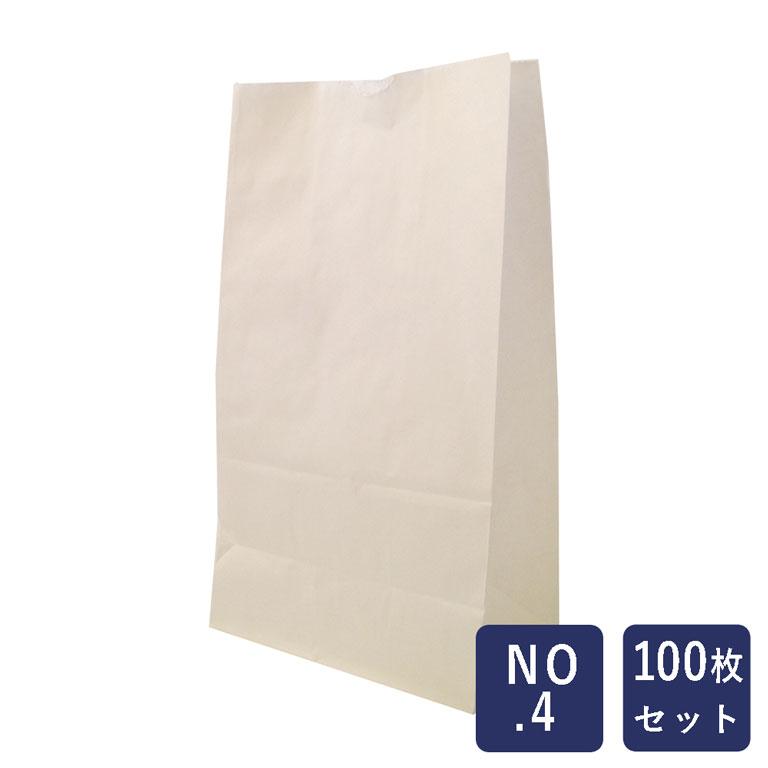 【包材】HEIKO 紙袋 角底袋 白無地 No.4 100枚_