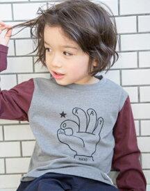 【'19春夏】ビールーム(b-ROOM)バイカラー裾カーブ長袖Tシャツ(90-130cm)